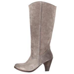 TOO SOON Bronx Grey Silver Suede Western Zip Boot